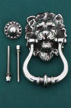 Lion`s Head Nickel Door Knocker Antique Door Knobs, Window Furniture, Door Knockers, Vintage Antiques, Door Handles, Lion, Silver, Door Knobs, Leo
