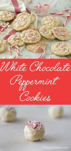 One of the most Christmassy cookies possible! White chocolate chips and flakes of candy cane held together by the tenderest cookie possible. via @preppykitchen