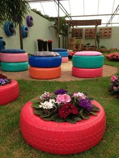 Recycle tires in garden!