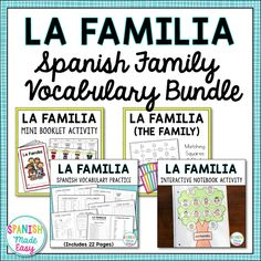 This bundle includes a variety of vocabulary activities, puzzles, and practices to help your students learn Spanish family vocabulary.