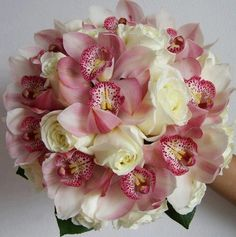 Wedding flowers pink and Ivory cymbidium orchids and roses bouquet Orchid Bouquet, Blush Bouquet, Floral Bouquets, Bridal Flowers, Flower Bouquet Wedding, Floral Wedding, Romantic Wedding Colors, Bride Bouquets, Floral Arrangements