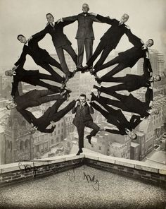 Unidentified American artist - Man on Rooftop with Eleven Men in Formation on His Shoulders, c. 1930. S)