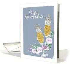 Happy Wedding Anniversary in Spanish, Feliz Aniversario, Champagne card