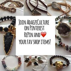Join us on Pinterest Today! We have a great selection of Crystal, Mala Bead, and Arrow Head jewelry! www.etsy.com/adaezeculture