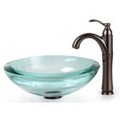 "Kraus Clear Glass 0.75"" Vessel Sink and Riviera Faucet Mounting Ring Finish: Oil Rubbed Bronze"