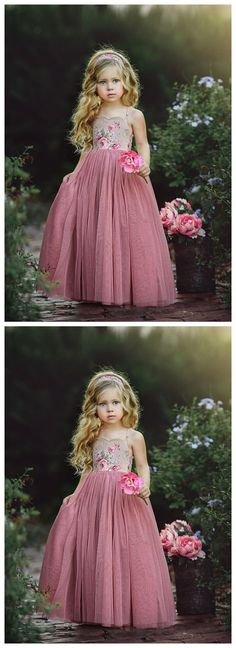 9e4f9411135 Spaghetti Strap Long Dusty Rose Floral Flower Girl Dresses ARD1477