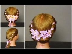 ▶ Прическа: плетение с лентой. Romantic hairstyles for medium hair tutorial - YouTube