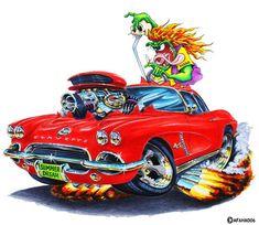 New muscle cars art rat fink ideas Rat Fink, Cool Car Drawings, Cartoon Drawings, Cartoon Art, Rat Rods, Ed Roth Art, Monster Car, Lowbrow Art, Big Daddy