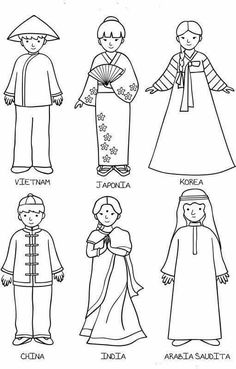 This Photo was uploaded by doriana_lee. Colouring Pages, Coloring Books, Harmony Day, Around The World Theme, Around The World Crafts For Kids, Thinking Day, World Cultures, Preschool Activities, Paper Dolls