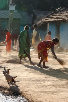 India - the morning time in villages where everyone comes out and cleans the village together