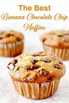 Moist Chocolate Chip Muffins, Moist Banana Muffins, Chocolate Chip Banana Bread, Chocolate Chip Recipes, Chocolate Banana Cupcakes, Chocolate Cake, Best Banana Muffin Recipe, Simple Muffin Recipe, Dairy Free Chocolate
