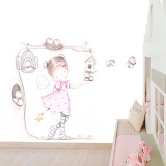 Decoración infantil Il Mondo di Alex, Papel mural efecto pintado a mano, HADA EN… Nursery Design, Nursery Art, Ceiling Murals, Wall Murals, Girl Room, Baby Room, Cute Drawings, Cute Animal Drawings, Nursery Drawings