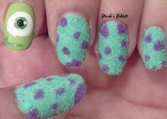 Monsters Inc Nails... this is freaking amazing!