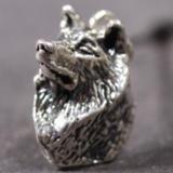 Siberian Husky silver PENDANT head 3D
