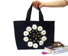 Denim Tote Bag Crochet flowers Jean Bag Navy Blue Denim by aynikki