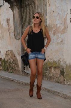black tank, denim shorts, and cowgirl boots!