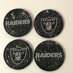 OAKLAND RAIDERS COASTERS Set of 4 by KreationsGalore on Etsy