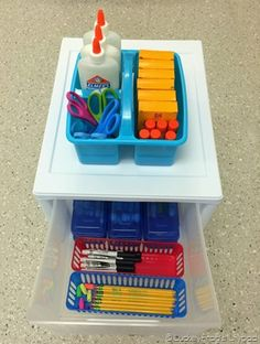 Great ideas for supply storage. I really like the marker sets in individual pencil boxes! #ClassroomOrganization