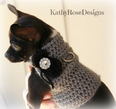 crochet dog harness~sweater~jacket~gray with black bow~sparkle~small dog~girl~bling~d ring~hot pink bow option