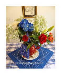 Layers of Blue, White and Red For a Patriotic Table