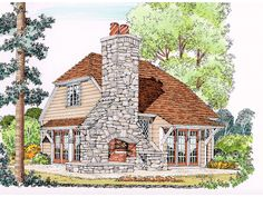 Teagan Cottage Home Impressive Cottage Design With Grand Stone Fireplace from houseplansandmore.com