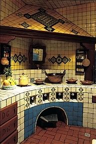 Cocinas Mexicanas Tradicionales - All photos © Melba Levick La Fuente Imports… Mexican Style Homes, Mexican Style Kitchens, Mexican Home Decor, Spanish Style Homes, Spanish House, Mexican Kitchen Decor, Spanish Colonial, Mexican Hacienda, Hacienda Style