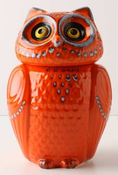 My new lovely owl went on sale FINALLY and is in the mail.  I couldn't resist splurging after eyeing this guy for over a year.    Red Owl Cookie Jar - #Anthropologie