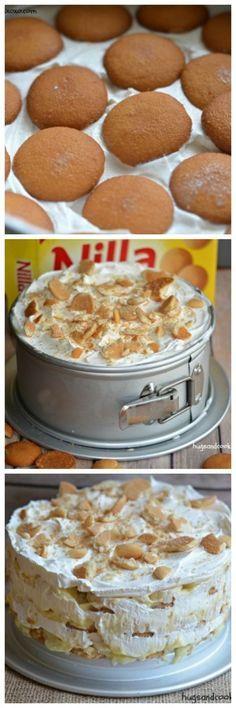 You'll Need: 8 inch springform pan pudding mix Print Banana Ice Box Cake Ingredients 1 box Nilla wafers 1 cup milk 1 box banana pudding prepared according to bo Icebox Desserts, Frozen Desserts, Just Desserts, Delicious Desserts, Dessert Recipes, Icebox Cake Recipes, Trifle Desserts, Cupcake Recipes, Banana Recipes