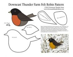 Felt Robin Pattern by jojablueberry