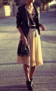 leather & pleats