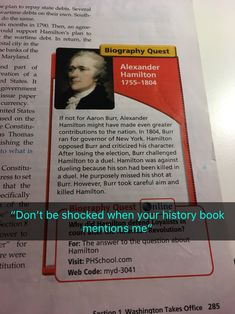 """""""If not for Aaron Burr"""" """"Now I'm the villain in your history"""""""