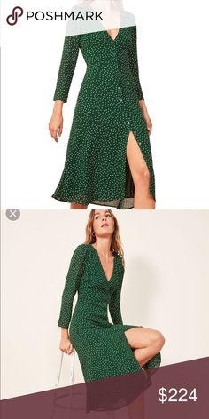 e94eda13362 Reformation Alma Dress Reformation Alma Dress Green polka dot midi dress  Never worn Reformation Dresses Midi