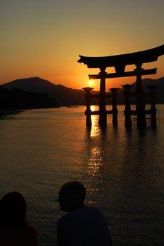 Sunset in Floating Torii Gate, Itsukushima Shrine, Miyajima, Hiroshima, Japan