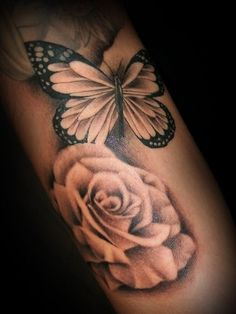 Butterfly and rose tattoo for the inner arm tattoos rose, butterfly tattoo Tatoo Flowers, Rose And Butterfly Tattoo, Rose Tattoo On Arm, Butterfly Tattoo Designs, Back Tattoo, Flower Tattoos, I Tattoo, Shaded Tattoos, Tattoo Shading