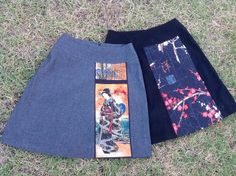 You Sew Girl A-Line Skirts with Japanese fabric panels.