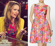 The Other Woman movie: Kate King's (Leslie Mann) hot pink floral print dress by Kate Spade #theotherwoman #lesliemann #katespade