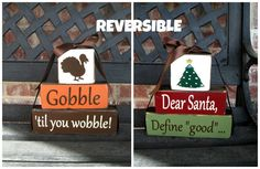 Thanksgiving and Christmas REVERSIBLE CHUNKY stacker by jjnewton, $21.00