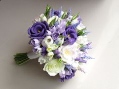 Freesia eustoma tulip rose lavender bridal by FlowersofSharon