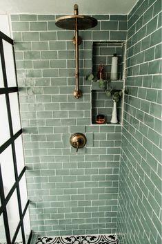 Tivoli 3 x 6 Ceramic Subway Tile asubtlerevelry Eclectic Bathroom Design Eclectic Bathroom, Bathroom Interior Design, Small Bathroom, Bathroom Ideas, Green Bathroom Tiles, Silver Bathroom, Mosaic Bathroom, White Bathroom, Bathroom Closet
