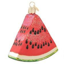 Watermelon Wedge, by Old World Christmas. A hand painted, glass, Christmas ornament.