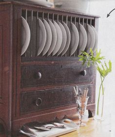 MATTHEW MEAD - From Out Of The Woods Antiques. Use dowels to create a plate rack.