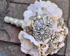"Back side of the ""Something Blue"" Brooch Bouquet #wedding #bouquet"