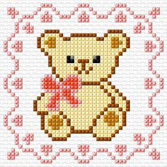 Teddy Bear Girl: 45 x 45 stitches 7 colors Baby Cross Stitch Patterns, Cross Stitch Baby, Cross Stitch Animals, Counted Cross Stitch Patterns, Cross Stitch Designs, Cross Stitch Embroidery, Cross Stitching, Hand Embroidery, Embroidery Patterns