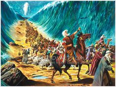 Moses leading the Israelites through the parted Red Sea; Moses is depicted here riding a horse with a cane in his hand. Crowds of people are moving forward as far as the eye can see. There are walls of water on either side. Bible Story Book, Bible Stories, Scripture Art, Bible Art, Bible Pictures, Art Pictures, Christian Art, Christian Movies, Crossing The Red Sea