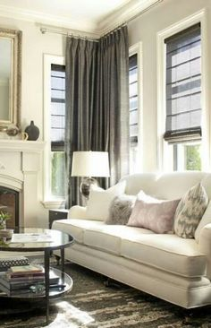 We love the different shades of grays/neutrals in this family room.