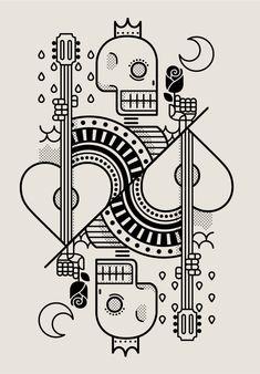 Surf Royale by Dario Genuardi. Cards, Skull, line drawing Graphic Design Illustration, Graphic Art, Illustration Art, Line Art, Art Graphique, Skull Art, Graphic Design Inspiration, Doodle Art, Vector Art