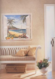 "Tropical Window Accent Mural  prepasted, 46.5""w x 41.75""h    http://www.discount-wallcovering.com/images/murals/muralgallery01.jpg"