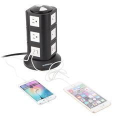Just one outlet = 10 electric plug in and 4 USB plug ins for cellphones. You can charge your cellphone, Laptop and use a lamp all at the same time! It is made from fireproof ABS plastic and PVC copper cable to ensure maximum safety and overload protection. USD: $36.99