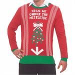 Gag Christmas sweater instructs others to plant a kiss under the strategically placed mistletoe. This stylish little number comes in size L/XL. (Please indicate your size choice with check-out). UPC: 721773696824