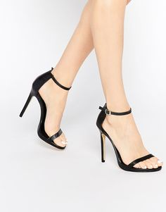 New Look | New Look Barely There Leather Heeled Sandals at ASOS